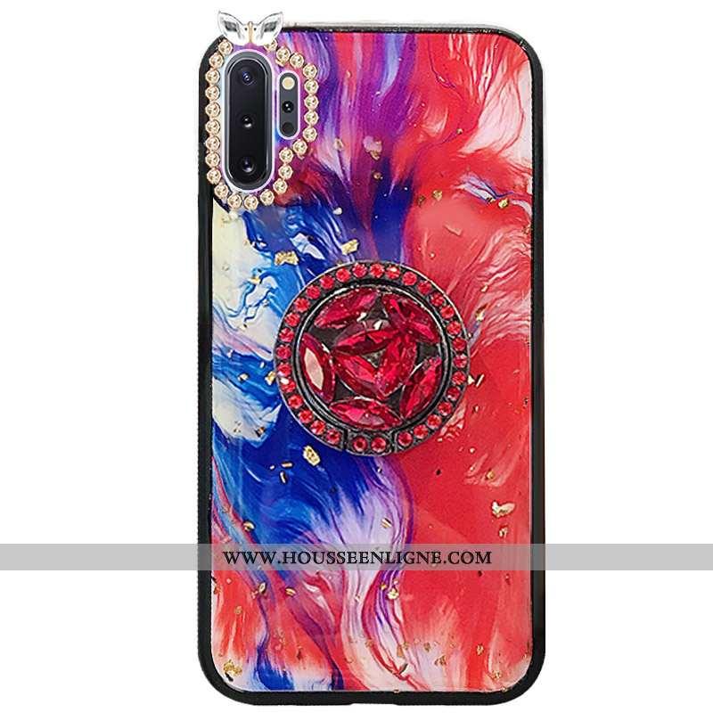 Housse Samsung Galaxy Note 10+ Protection Incruster Strass Rouge Étoile Étui Coque Téléphone Portabl