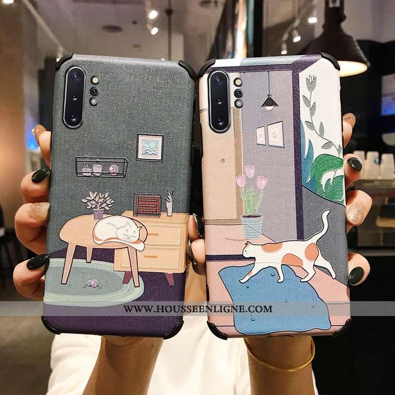 Housse Samsung Galaxy Note 10+ Protection Modèle Fleurie Soie Mulberry Mode Étoile Gris Étui