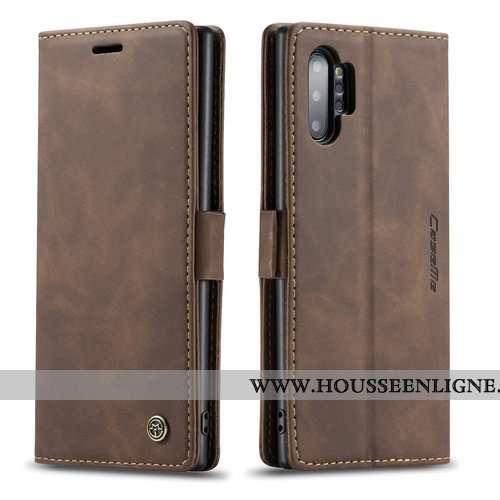 Housse Samsung Galaxy Note 10+ Protection Personnalité Tout Compris Carte Clamshell Coque Cuir Marro