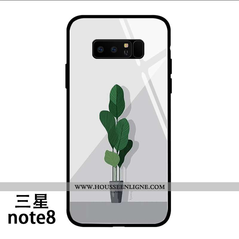 Housse Samsung Galaxy Note 8 Charmant Silicone Vent Protection Dessin Animé Incassable Frais Blanche