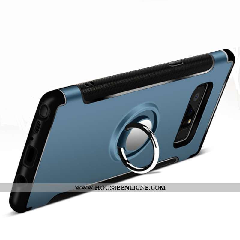 Housse Samsung Galaxy Note 8 Protection Anneau Bleu Marin Magnétisme Étui Téléphone Portable Coque B