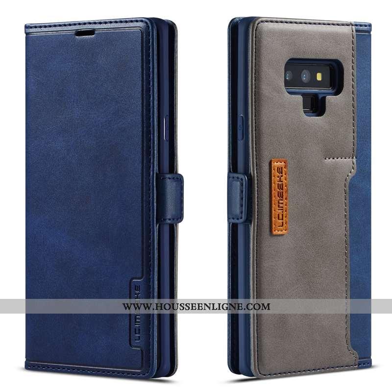 Housse Samsung Galaxy Note 9 Cuir Véritable Étoile Luxe Membrane Simple Étui Coque Bleu Foncé
