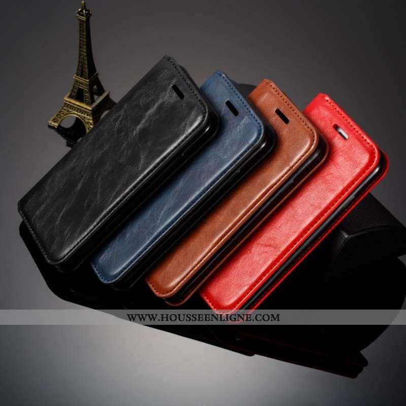 Housse Samsung Galaxy Note 9 Cuir Véritable Tendance Simple Business Étui Noir Cuir