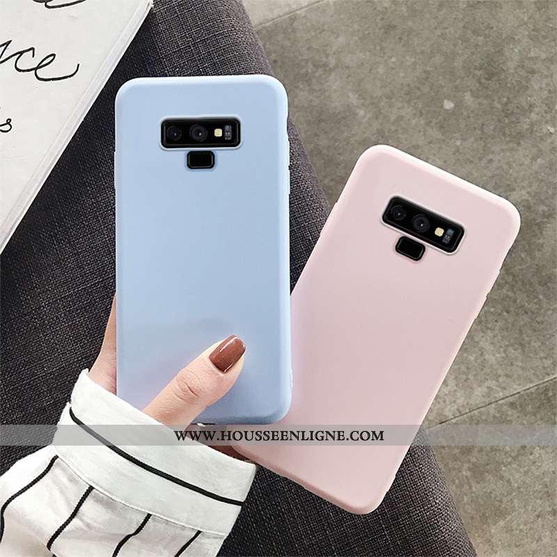 Housse Samsung Galaxy Note 9 Tendance Légère Téléphone Portable Étui Couleur Unie Ultra Bleu