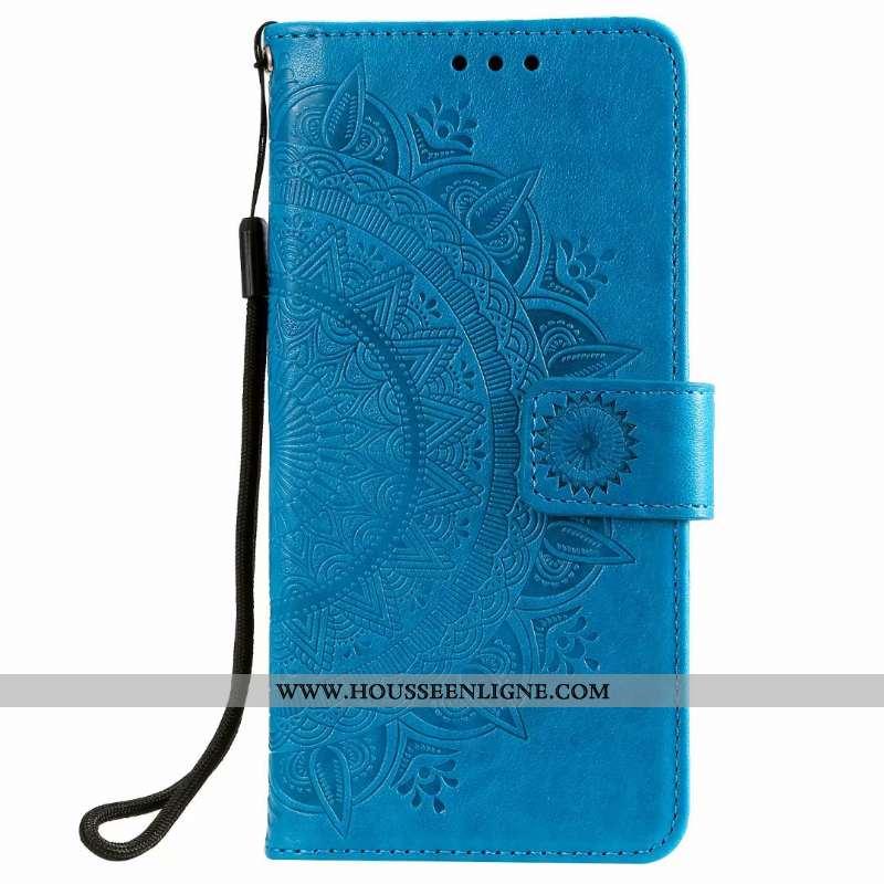 Housse Samsung Galaxy Note20 Cuir Carte Étui Étoile Clamshell Bleu Téléphone Portable