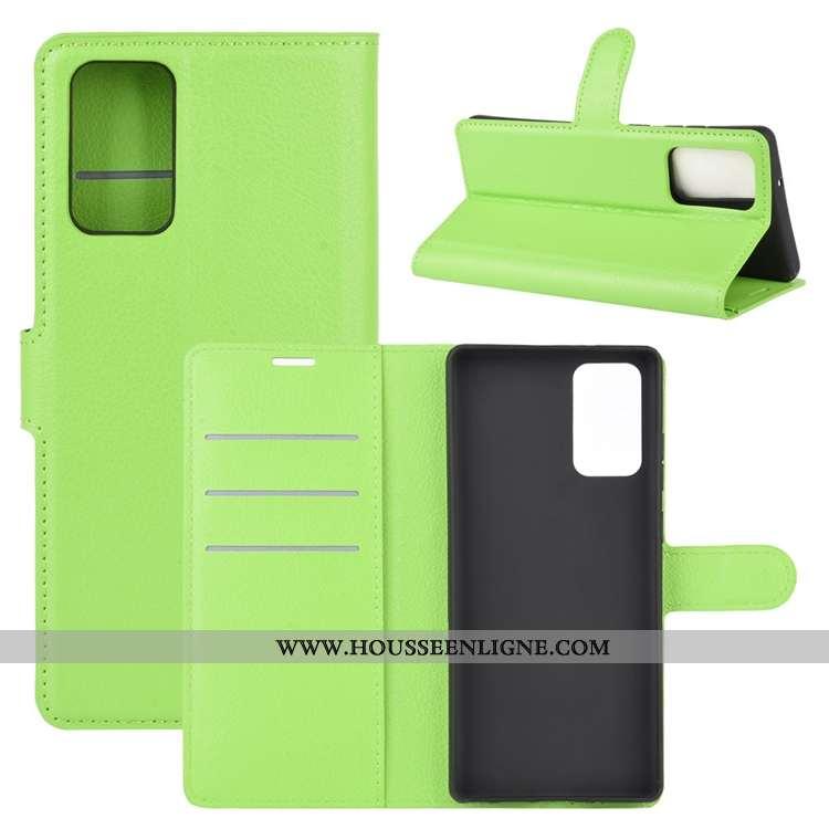Housse Samsung Galaxy Note20 Cuir Délavé En Daim Étui Téléphone Portable Carte Antidérapant Clamshel