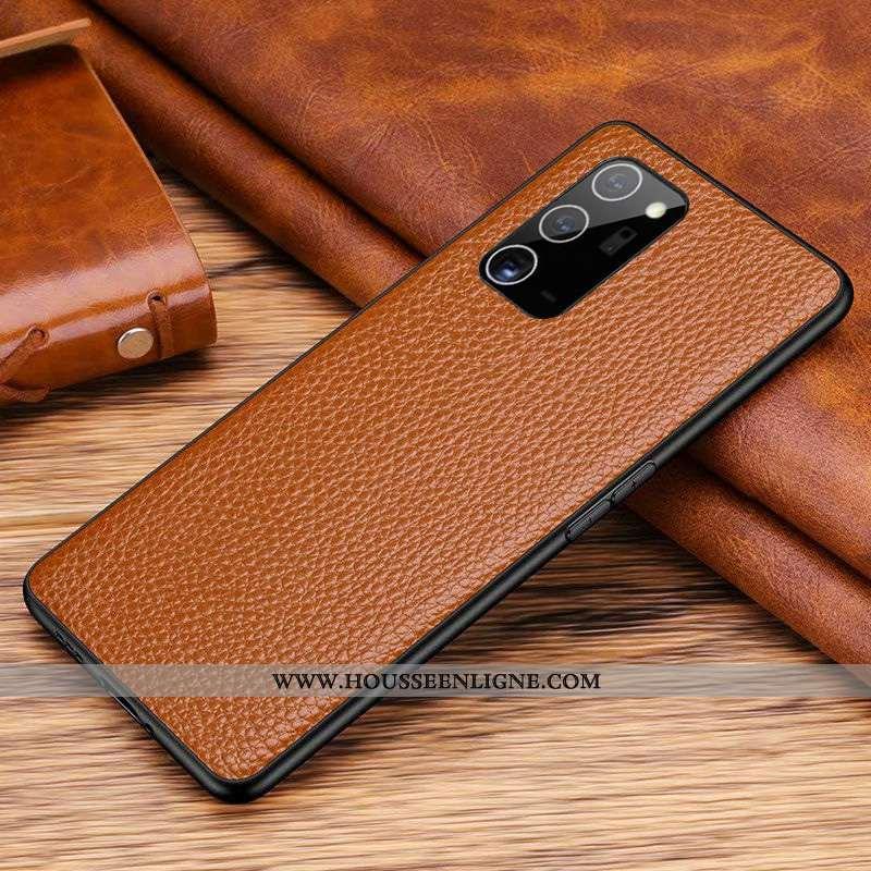 Housse Samsung Galaxy Note20 Cuir Véritable Cuir Couvercle Arrière Téléphone Portable Tout Compris É