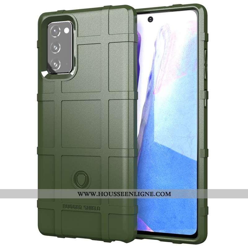 Housse Samsung Galaxy Note20 Fluide Doux Silicone Trois Défenses Vert Délavé En Daim Étoile Téléphon