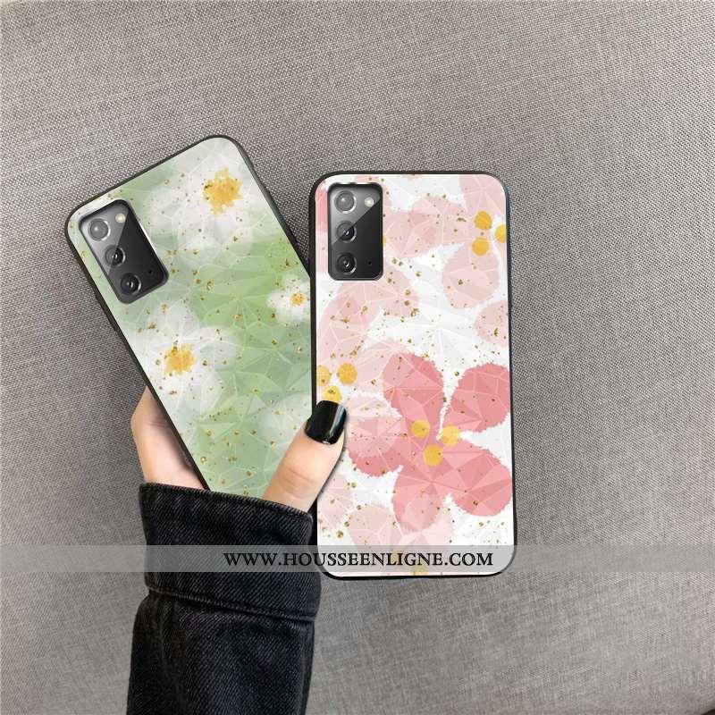 Housse Samsung Galaxy Note20 Losange Téléphone Portable Coque Or Incassable Étoile Fleurs Rose