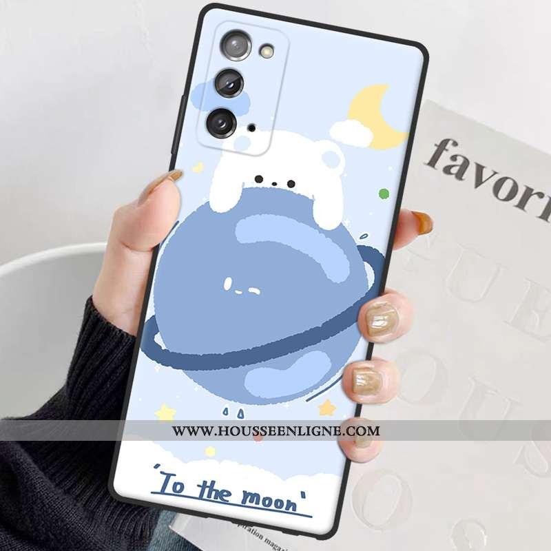 Housse Samsung Galaxy Note20 Silicone Personnalité Incassable Coque Net Rouge Ours Amoureux Bleu