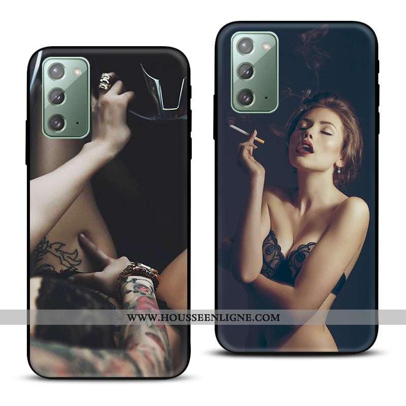 Housse Samsung Galaxy Note20 Silicone Protection Europe Noir Modèle Fleurie Nouveau Téléphone Portab