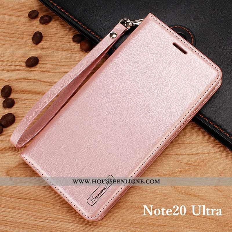 Housse Samsung Galaxy Note20 Ultra Cuir Véritable Portefeuille Téléphone Portable Coque Étui Rose Cl