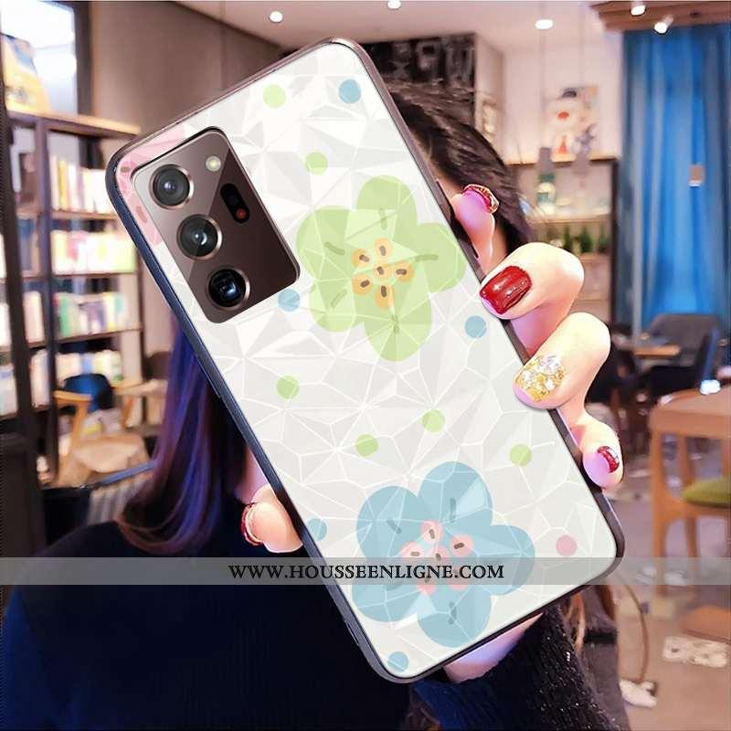 Housse Samsung Galaxy Note20 Ultra Protection Modèle Fleurie Coque Frais Petit Modèle Losange Blanch
