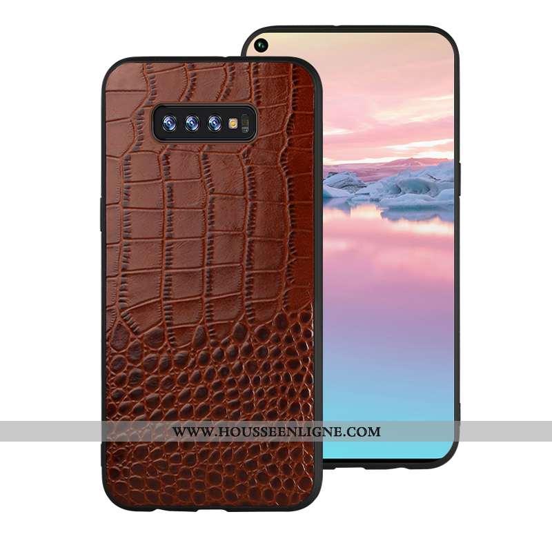 Housse Samsung Galaxy S10 Cuir Modèle Fleurie Coque Protection Incassable Marron Personnalité