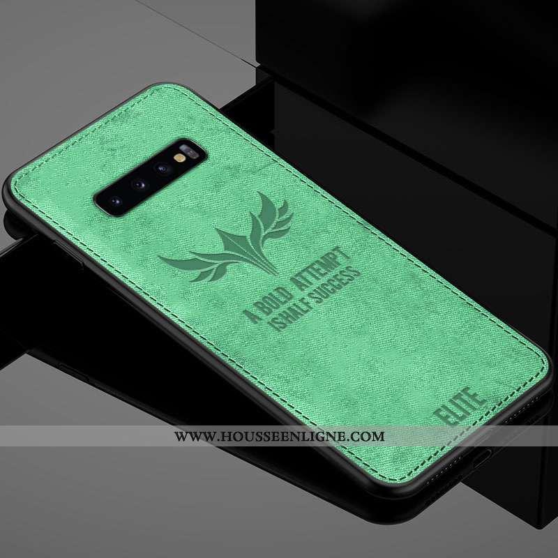 Housse Samsung Galaxy S10 Fluide Doux Silicone Couleur Unie Protection Difficile Vert Coque Verte
