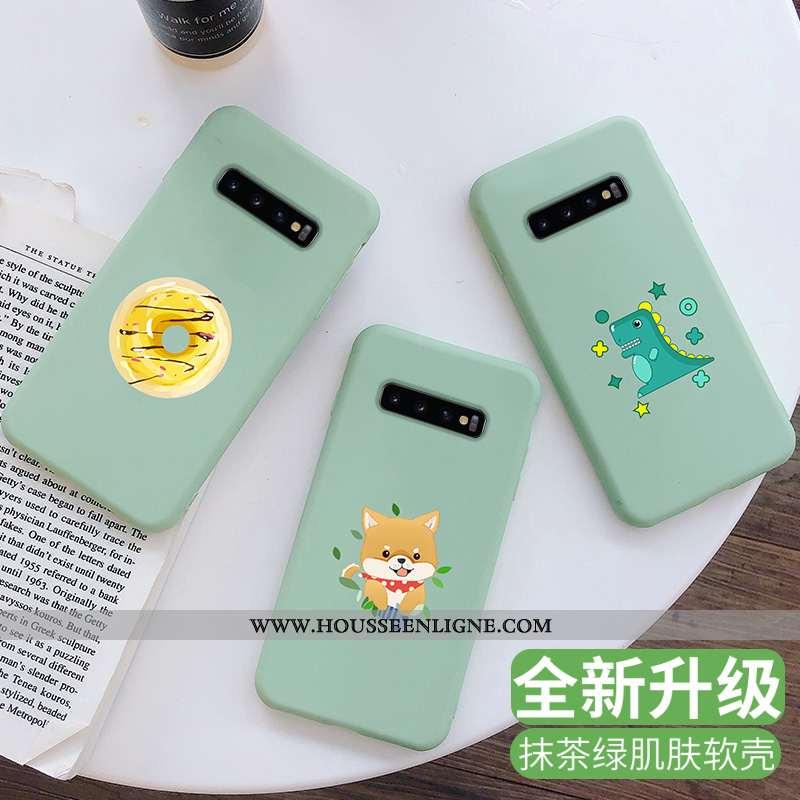 Housse Samsung Galaxy S10 Fluide Doux Silicone Incassable Art Tout Compris Protection Étui Verte