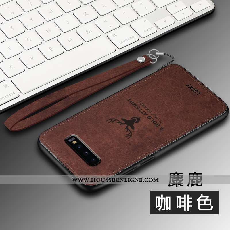 Housse Samsung Galaxy S10 Personnalité Créatif Ultra Modèle Fleurie Fluide Doux Marron Silicone
