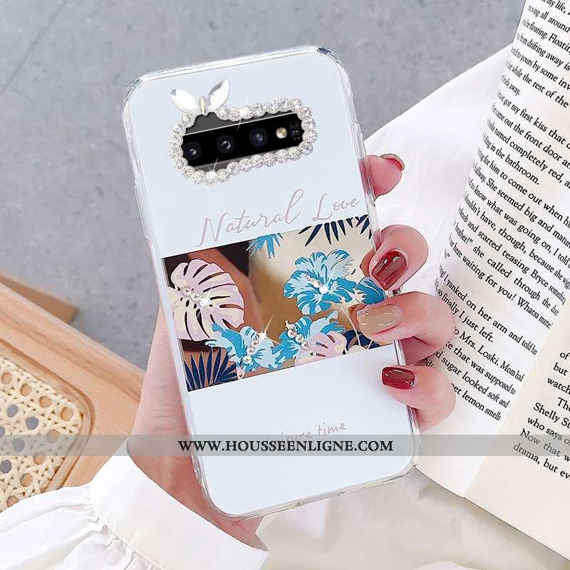 Housse Samsung Galaxy S10 Personnalité Fluide Doux Téléphone Portable Coque Étui Fleurs Miroir Blanc