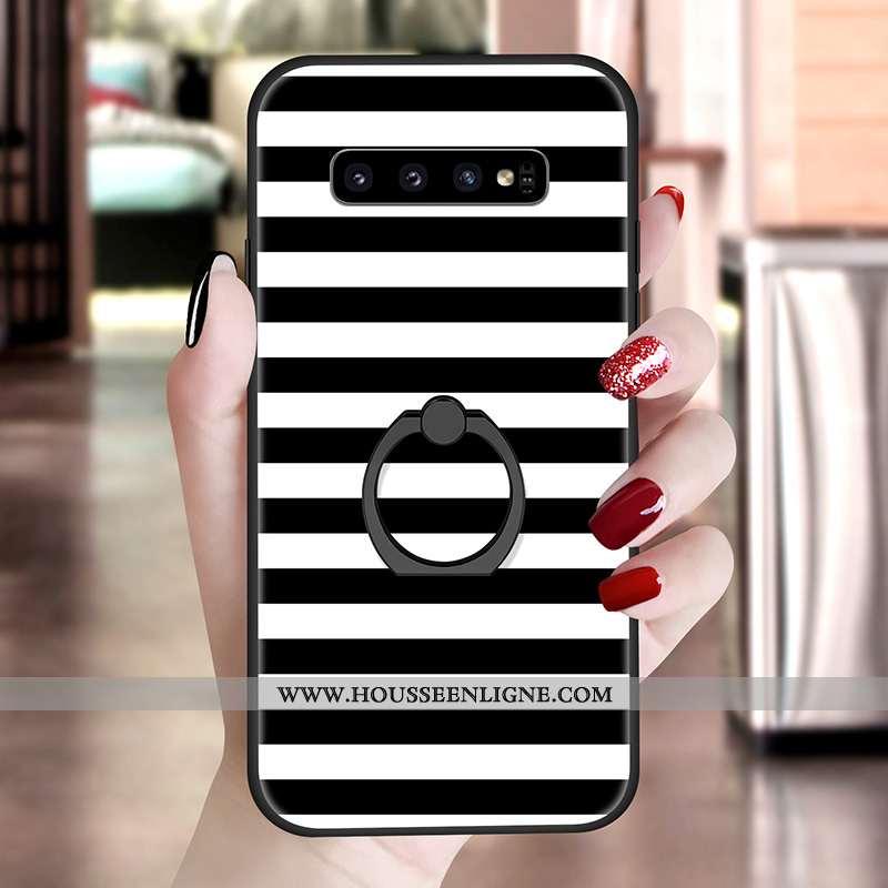 Housse Samsung Galaxy S10 Silicone Fluide Doux Support Motif Noir Blanc Nouveau