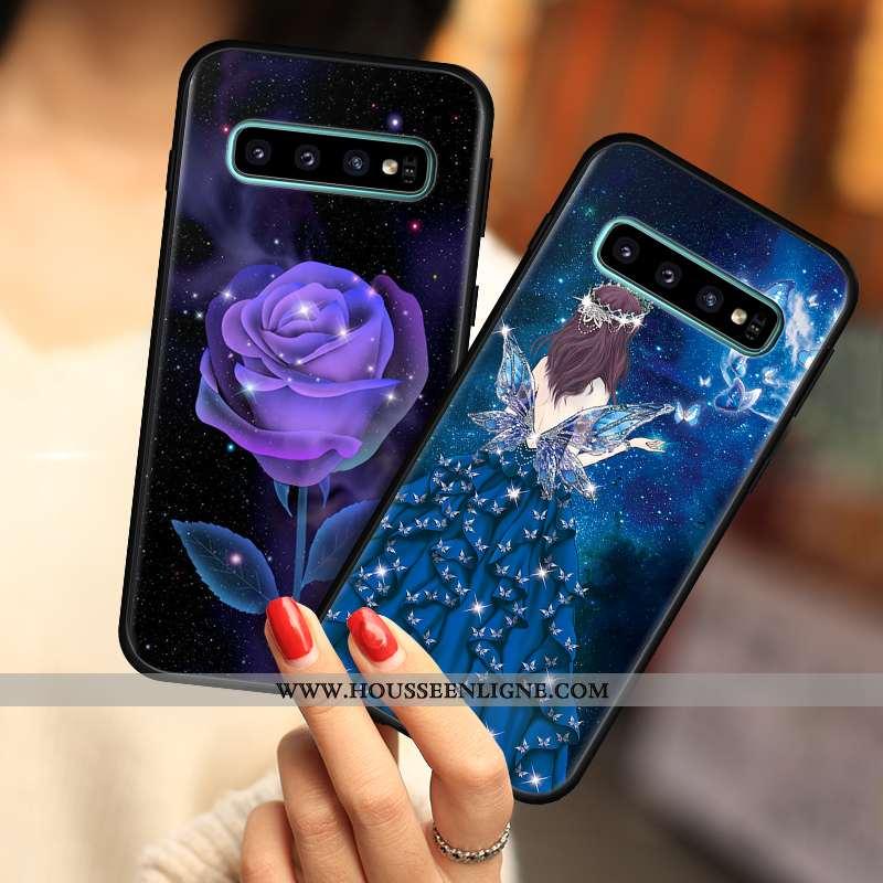 Housse Samsung Galaxy S10 Silicone Protection Coque Étoile Étui Incassable Tout Compris Bleu Foncé