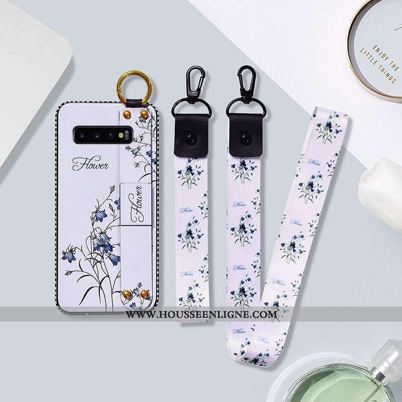Housse Samsung Galaxy S10 Silicone Protection Net Rouge Blanc Fluide Doux Fleur Étoile Blanche