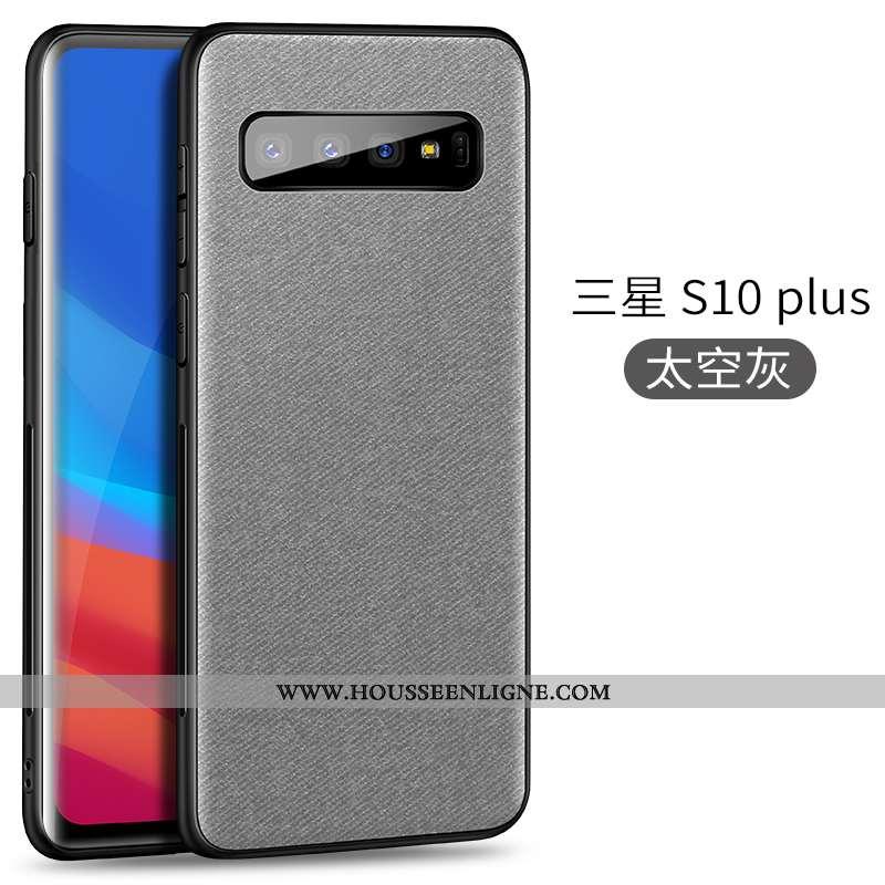 Housse Samsung Galaxy S10+ Tendance Légère Magnétisme Tissu Ultra Modèle Fleurie Coque Gris