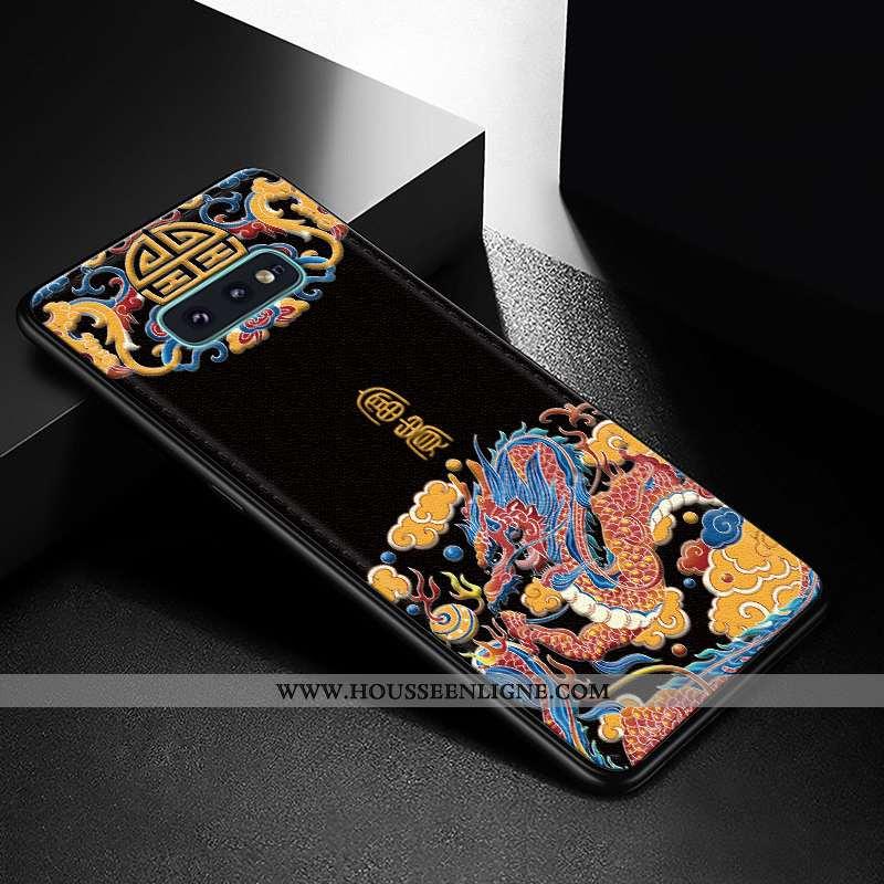 Housse Samsung Galaxy S10e Créatif Gaufrage Net Rouge Étui Tendance Personnalité Incassable Noir