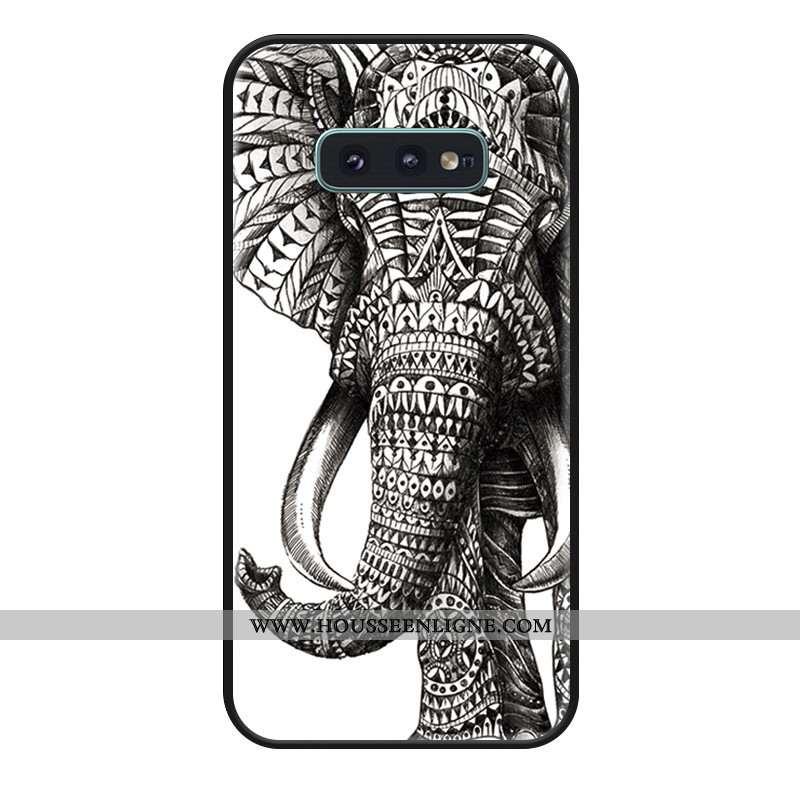 Housse Samsung Galaxy S10e Dessin Animé Fluide Doux Silicone Téléphone Portable Noir Étoile Coque