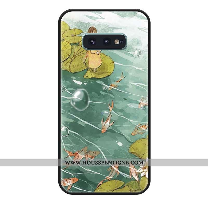 Housse Samsung Galaxy S10e Fluide Doux Silicone Tout Compris Coque Téléphone Portable Vert Étoile Ve