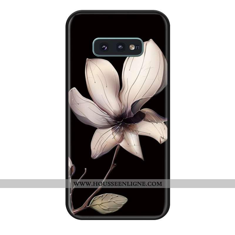 Housse Samsung Galaxy S10e Gaufrage En Bois Coque Fleur Incassable Noir Téléphone Portable