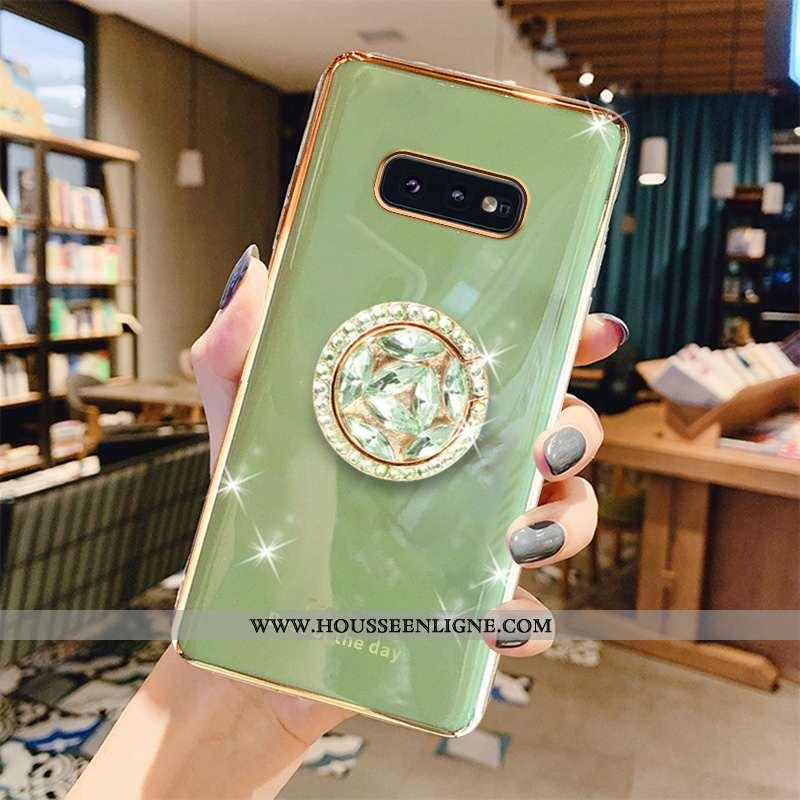 Housse Samsung Galaxy S10e Luxe Mode Cristal Incassable Anneau Téléphone Portable Bovins Verte