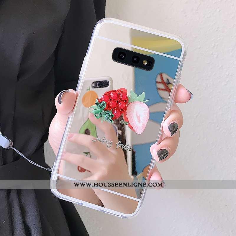 Housse Samsung Galaxy S10e Protection Ornements Suspendus Fraise Fluide Doux Incassable Téléphone Po