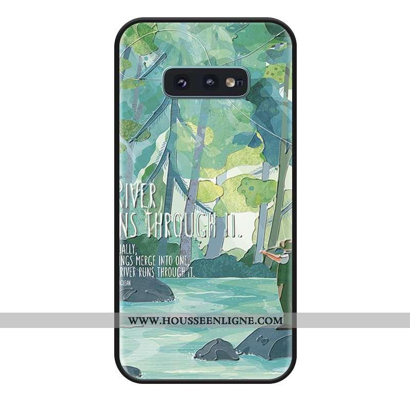Housse Samsung Galaxy S10e Silicone Gaufrage Incassable Étoile Téléphone Portable Tout Compris Vert