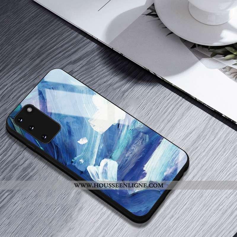 Housse Samsung Galaxy S20 Créatif Silicone Étoile Coque Peinture À L'huile Bleu Incassable