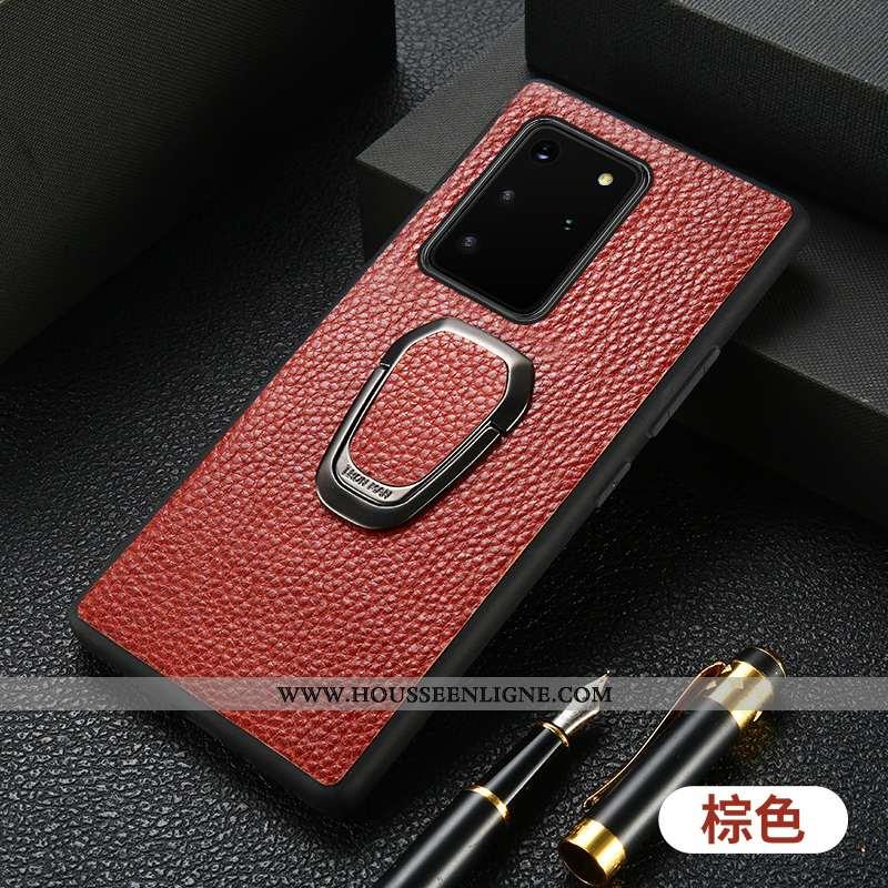 Housse Samsung Galaxy S20+ Cuir Protection Téléphone Portable Étui Support Luxe Tout Compris Marron