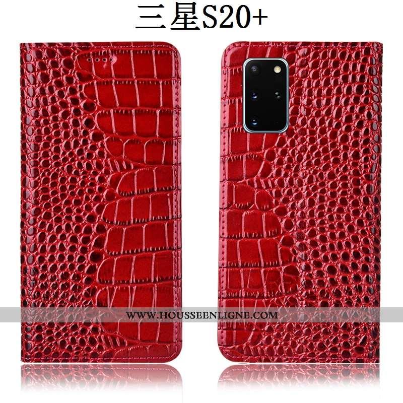 Housse Samsung Galaxy S20+ Cuir Véritable Protection Crocodile Téléphone Portable Étui Rouge Étoile