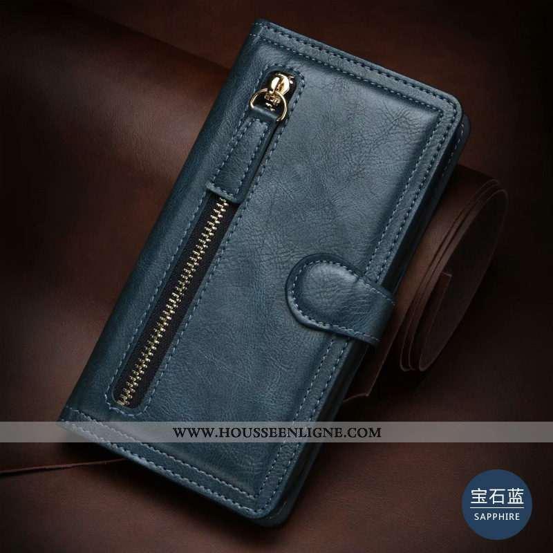Housse Samsung Galaxy S20+ Cuir Véritable Reversible Portefeuilles Bleu Boucle Téléphone Portable