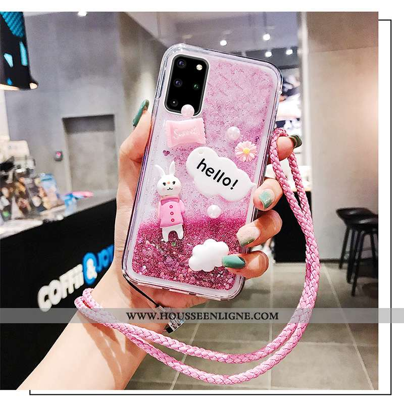 Housse Samsung Galaxy S20+ Délavé En Daim Créatif Étoile Tendance Coque Rose Mode