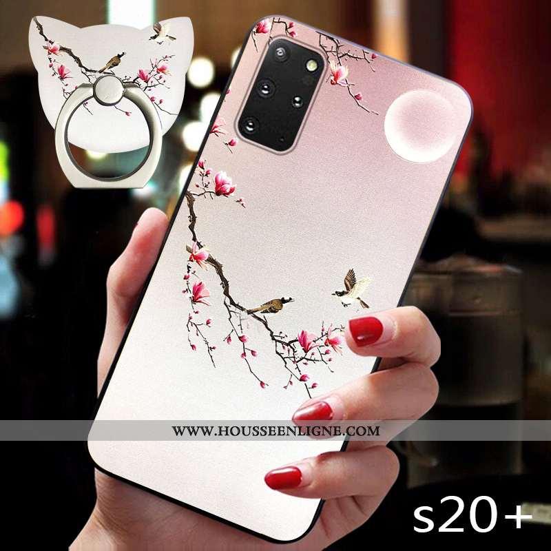 Housse Samsung Galaxy S20+ Gaufrage Vintage Tendance Incassable Créatif Style Chinois Vent Rose