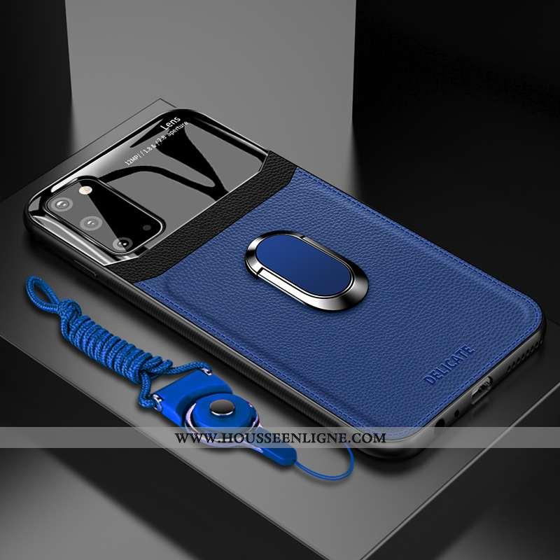 Housse Samsung Galaxy S20 Protection Cuir Étoile Coque Silicone Étui Téléphone Portable Bleu Foncé