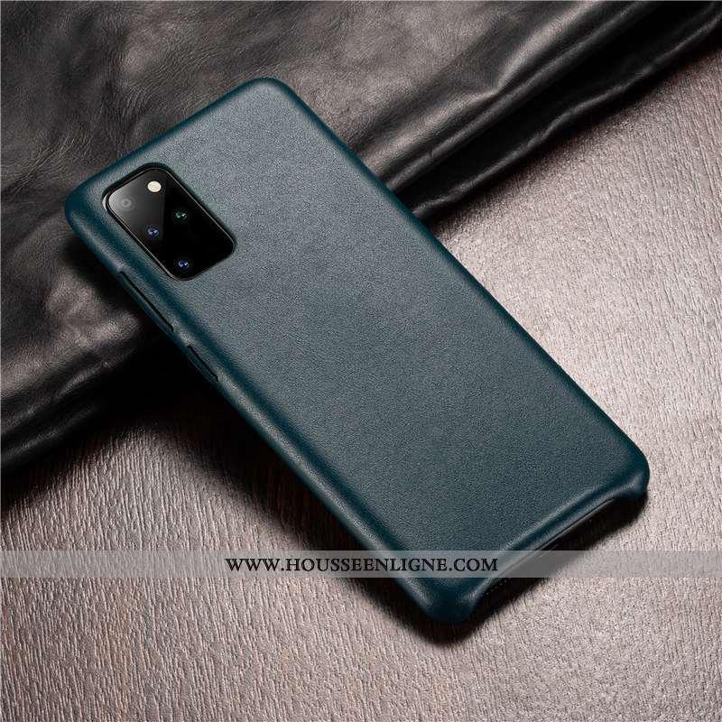 Housse Samsung Galaxy S20+ Protection Cuir Véritable Étui Coque Luxe Cuir Authentique Verte
