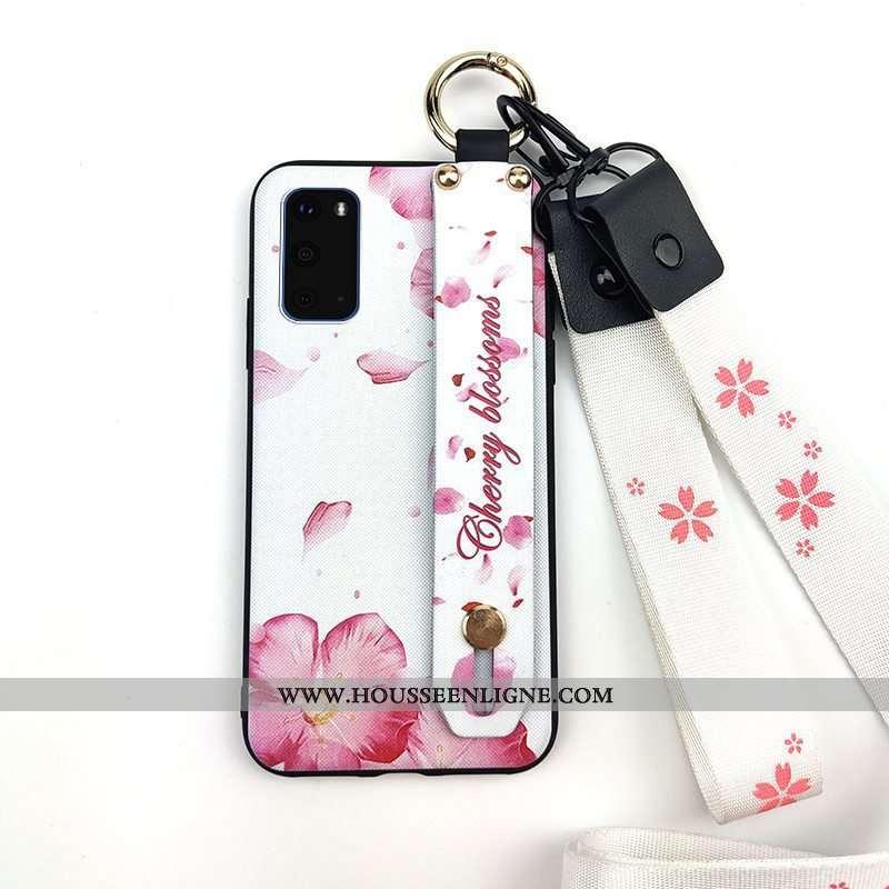 Housse Samsung Galaxy S20 Protection Ornements Suspendus Étoile Téléphone Portable Support Fleur Bla