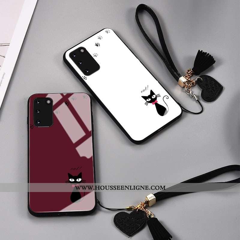 Housse Samsung Galaxy S20 Protection Verre Rouge Personnalité Étoile Charmant Net Rouge