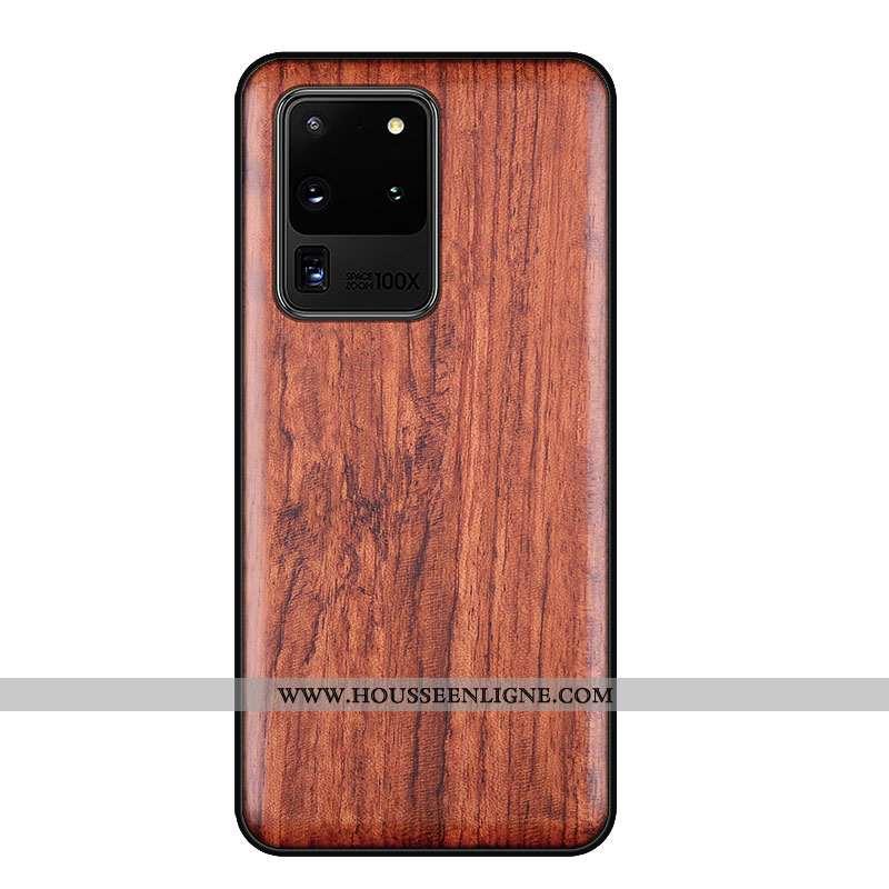 Housse Samsung Galaxy S20 Ultra Créatif En Bois Marron Protection Incassable Ultra Personnalité