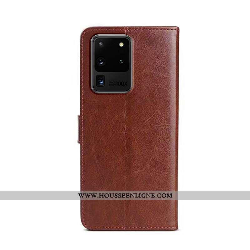Housse Samsung Galaxy S20 Ultra Cuir Protection Téléphone Portable Marron Étui Étoile Coque