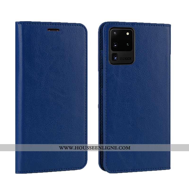 Housse Samsung Galaxy S20 Ultra Luxe Cuir Véritable Téléphone Portable Nouveau Qualité Étui Coque Bl