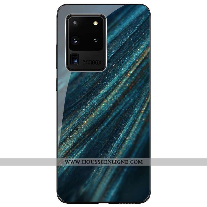 Housse Samsung Galaxy S20 Ultra Personnalité Silicone Étui Verre Bleu Marin Tout Compris Protection