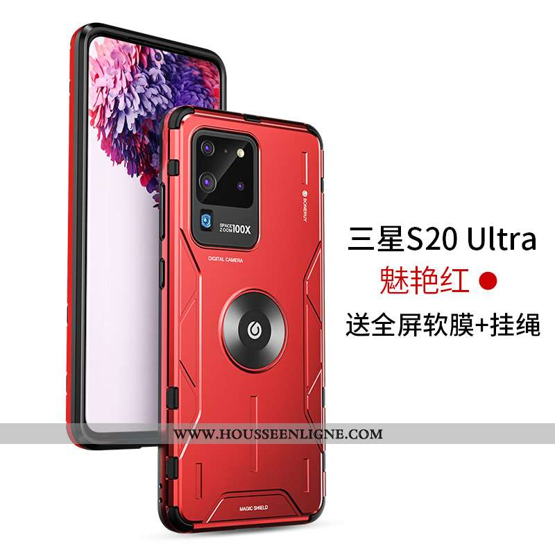 Housse Samsung Galaxy S20 Ultra Silicone Protection Incassable Ballon Difficile Métal Légère Rouge