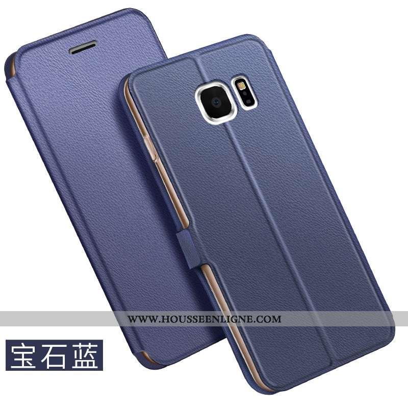 Housse Samsung Galaxy S6 Cuir Étoile Coque Bleu Téléphone Portable Business