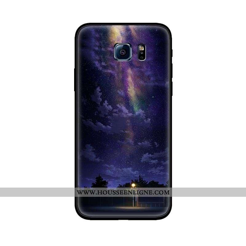 Housse Samsung Galaxy S6 Délavé En Daim Personnalité Étoile Tout Compris Incassable Violet Fluide Do